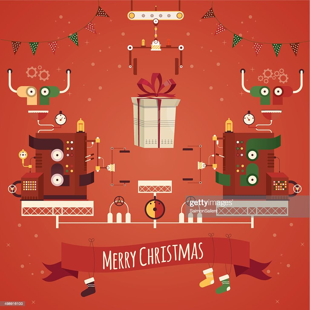 Modern vector illustration of christmas gifts factory