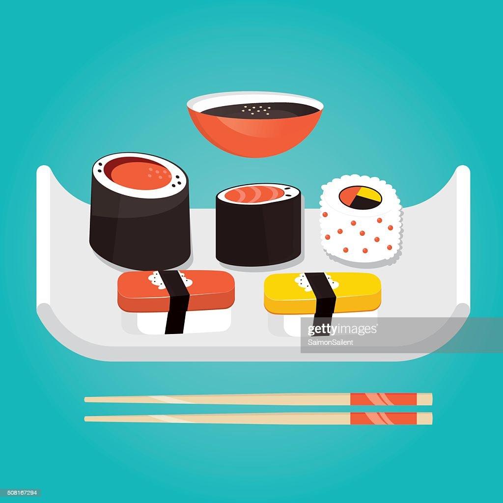 Modern vector illustration of Japanese food, sushi set