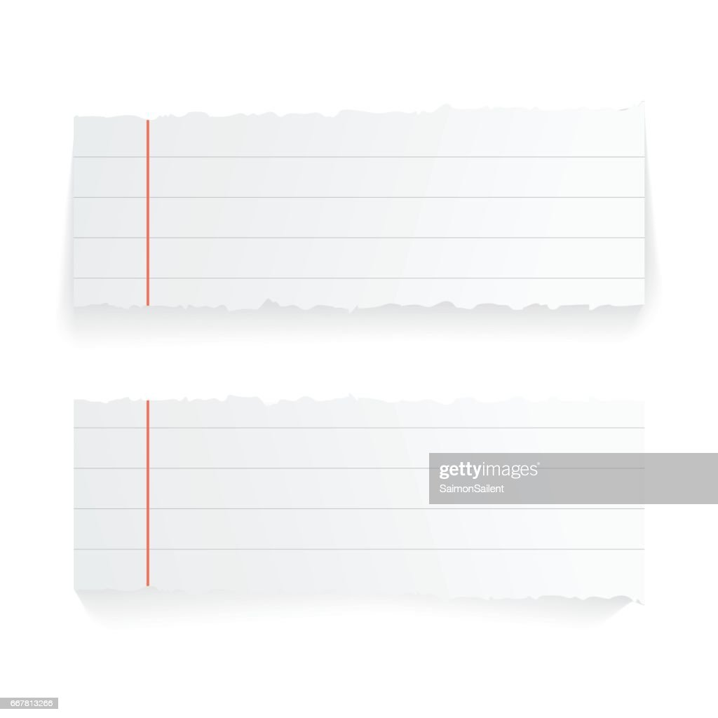 Modern vector illustration of ragged realistiс stick and paper isolated on white background
