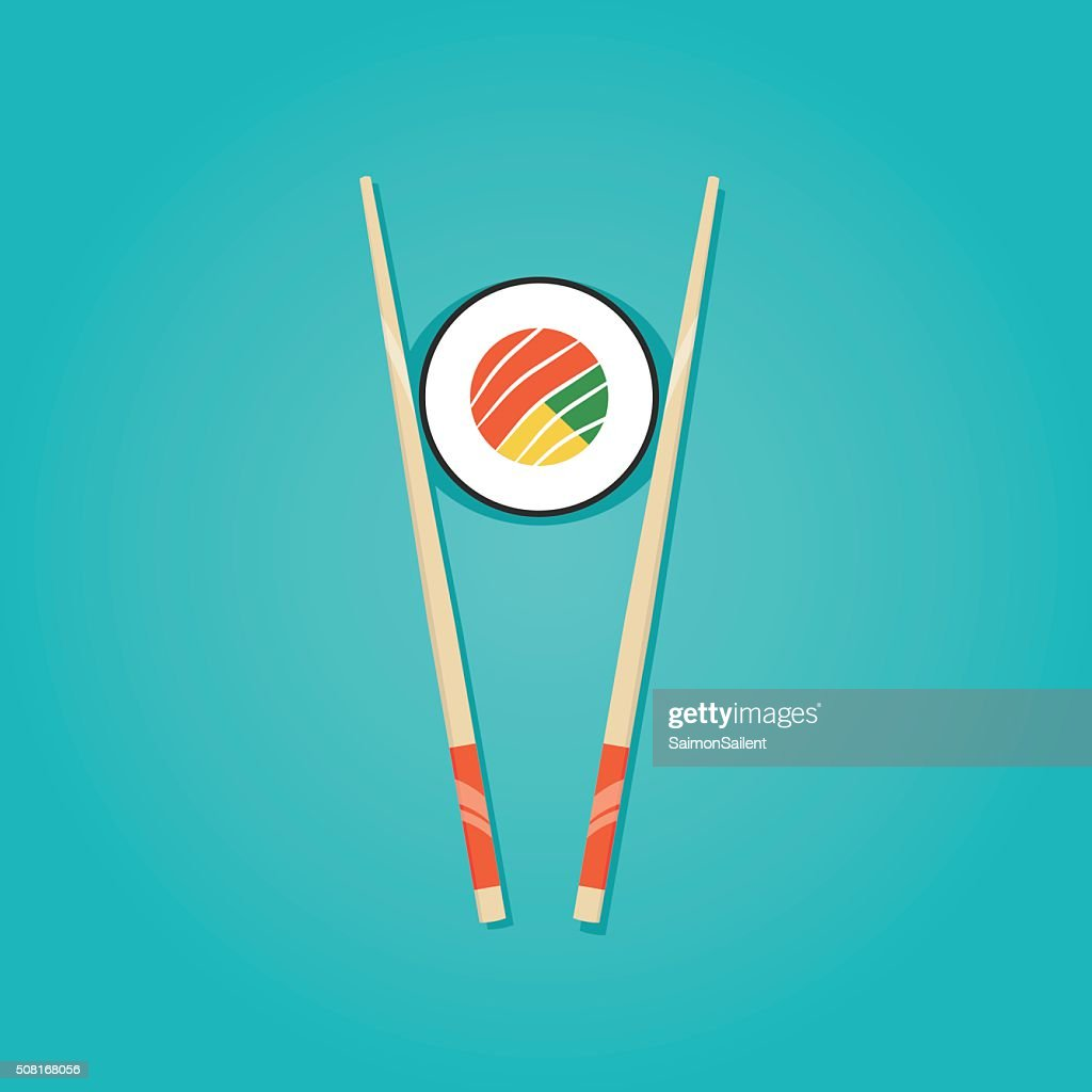 Modern vector illustration of  roll with chopsticks