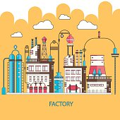 Modern vector line illustration of factory