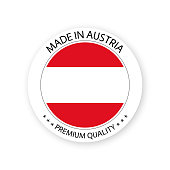 Modern vector Made in Austria label isolated on white background, simple sticker with Austrian colors, premium quality stamp design, flag of Austria