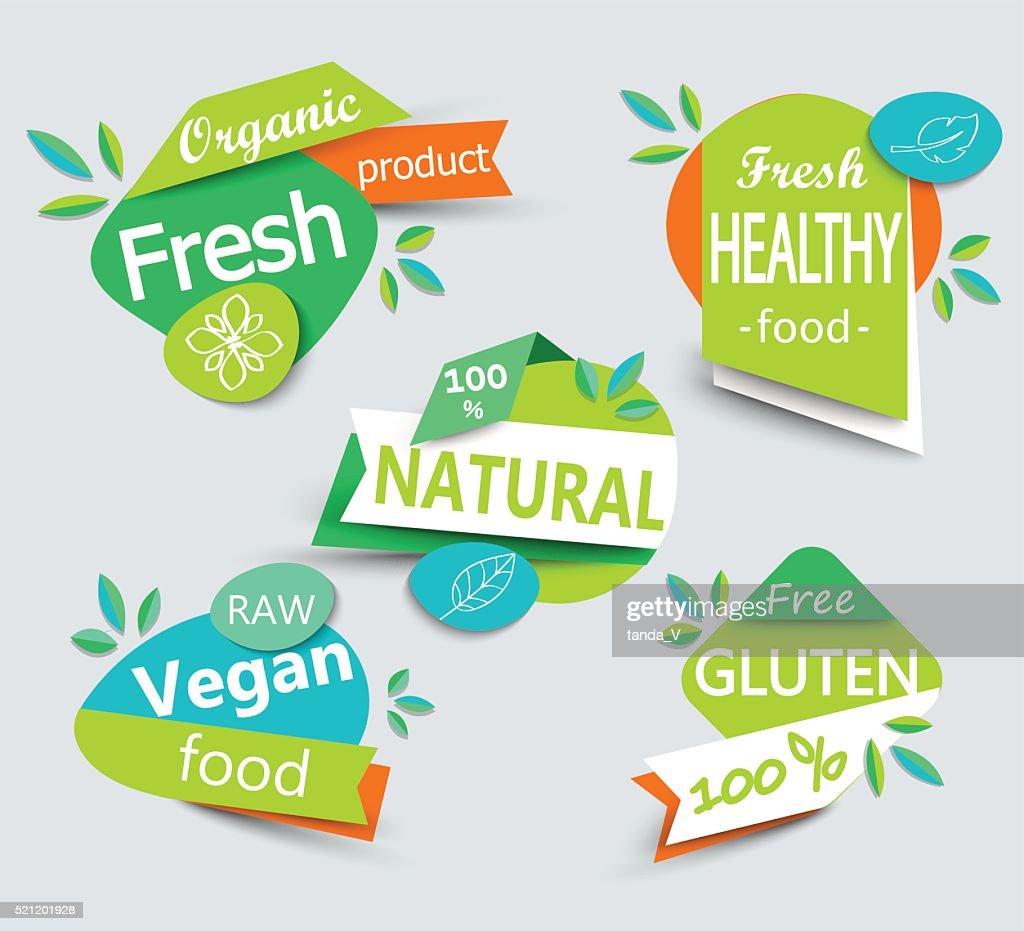 Modern vector set of healthy organic food labels.