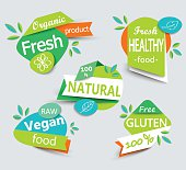Modern vector set of healthy organic food labels.
