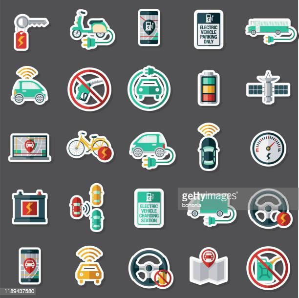 modern vehicle technology sticker set - electric vehicle charging station stock illustrations