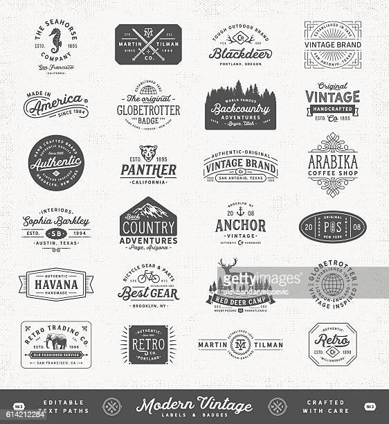 modern vintage labels,badges and signs - insignia stock illustrations