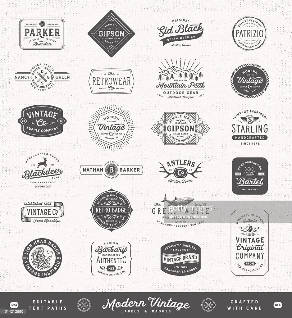 Modern Vintage Labels,Badges and Signs : ストックイラストレーション