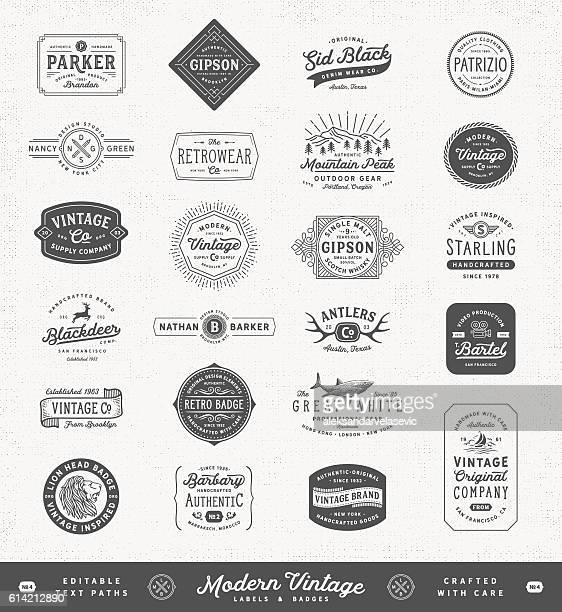 illustrazioni stock, clip art, cartoni animati e icone di tendenza di modern vintage labels,badges and signs - vecchio stile