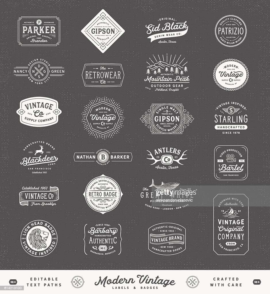 Modern Vintage Labels,Badges and Signs