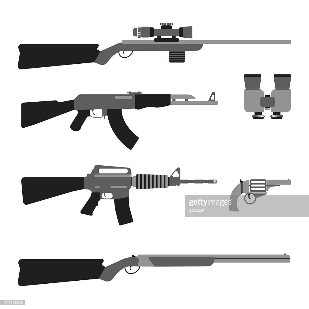 Modern Weapons set. Flat style equipment.
