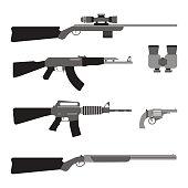 Modern Weapons set. Flat style equipment.