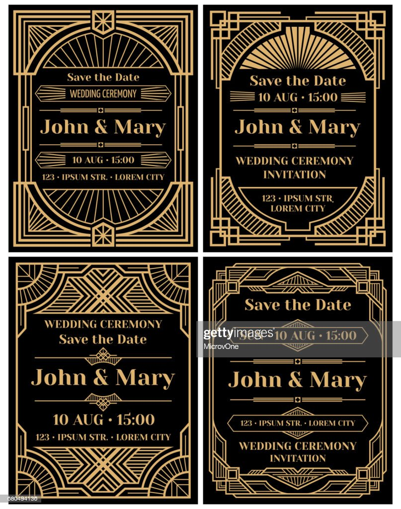 Modern wedding invitation vector mockup in classic art deco retro style