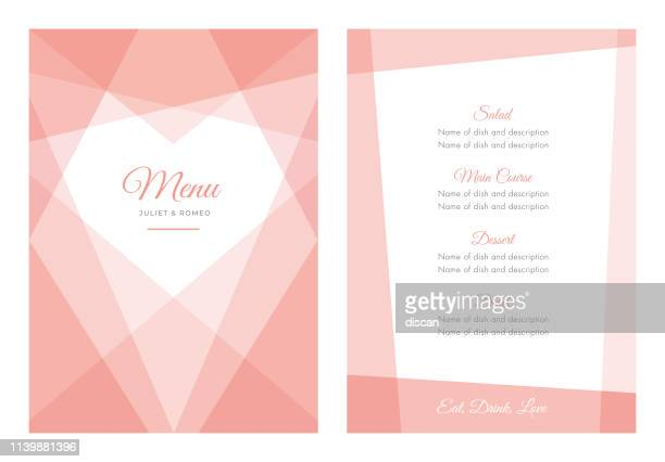modern wedding template - menu. - gift tag note stock illustrations