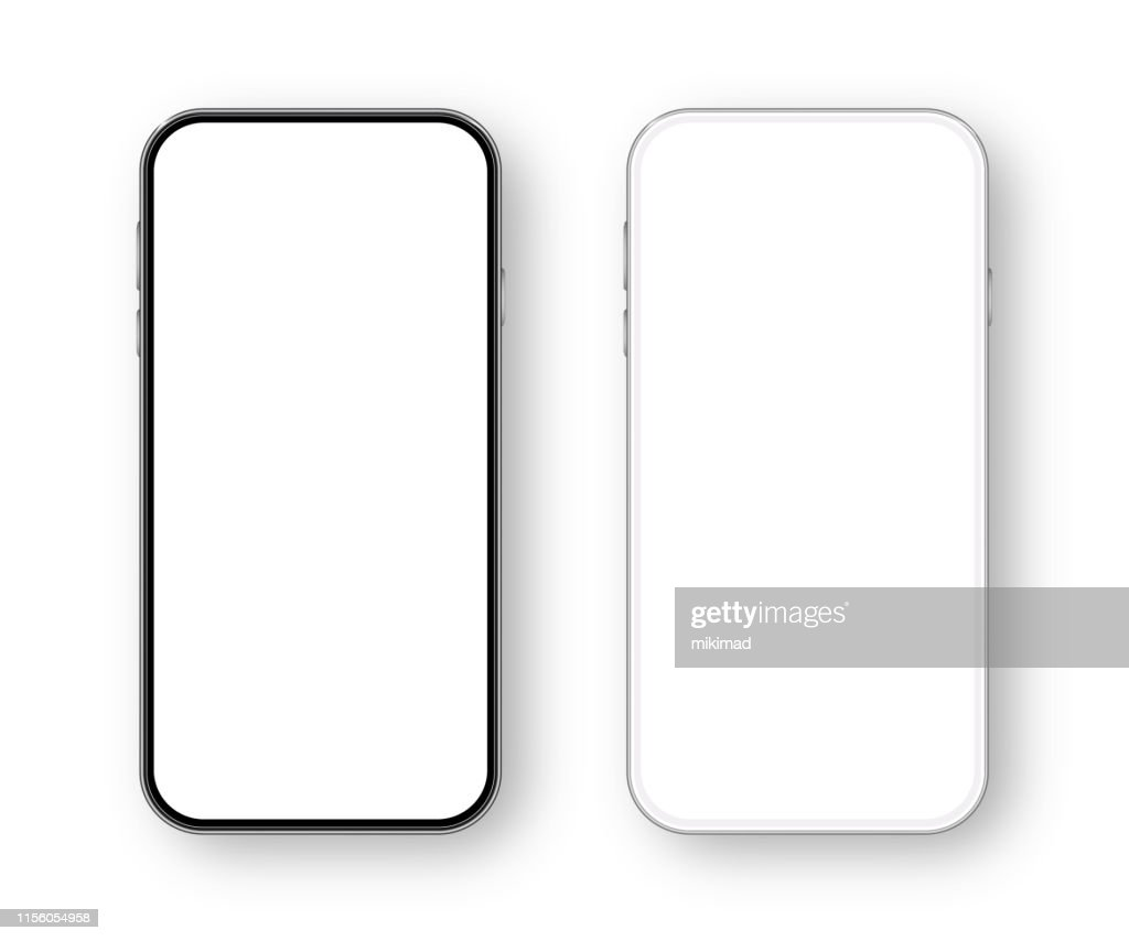Modern White and Black Smartphone. Mobile phone Template. Telephone. Realistic vector illustration of Digital devices : Stock Illustration