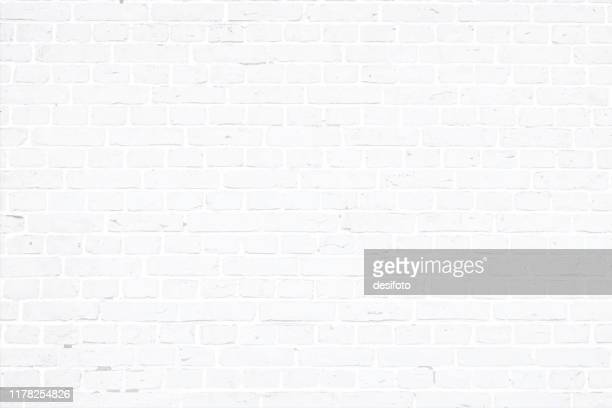 illustrazioni stock, clip art, cartoni animati e icone di tendenza di modern white color brick pattern wall texture grunge background vector illustration - mattone