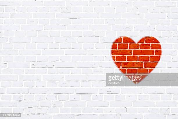 modern white color brick pattern wall texture grunge background xmas vector illustration with a red colored heart  graffiti graffitied or rubber stamped on wall - {{asset.href}} stock illustrations