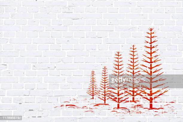 modern white color brick pattern wall texture grunge background xmas vector illustration with a red colored creative christmas theme woodland graffiti graffitied on wall - defensive wall stock illustrations