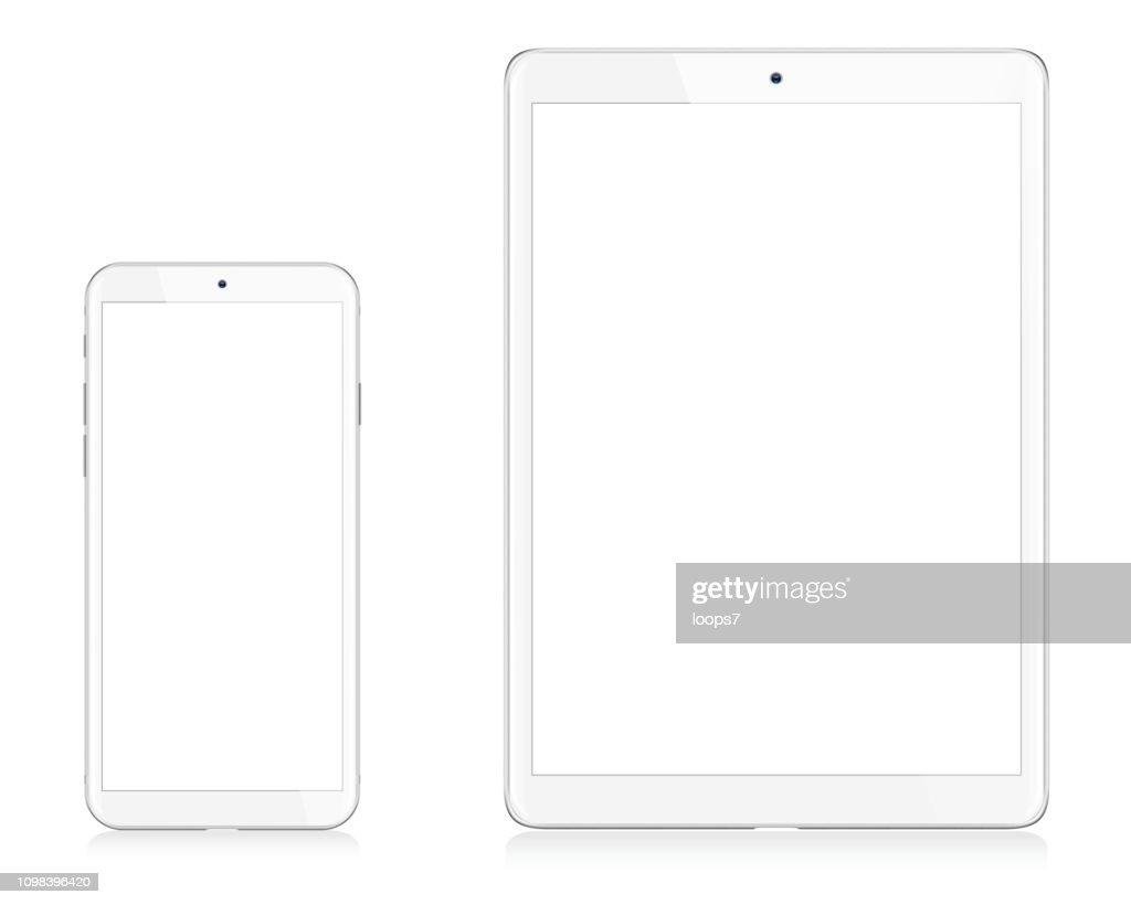Modern White Digital Tablet and Smart Phone : stock illustration