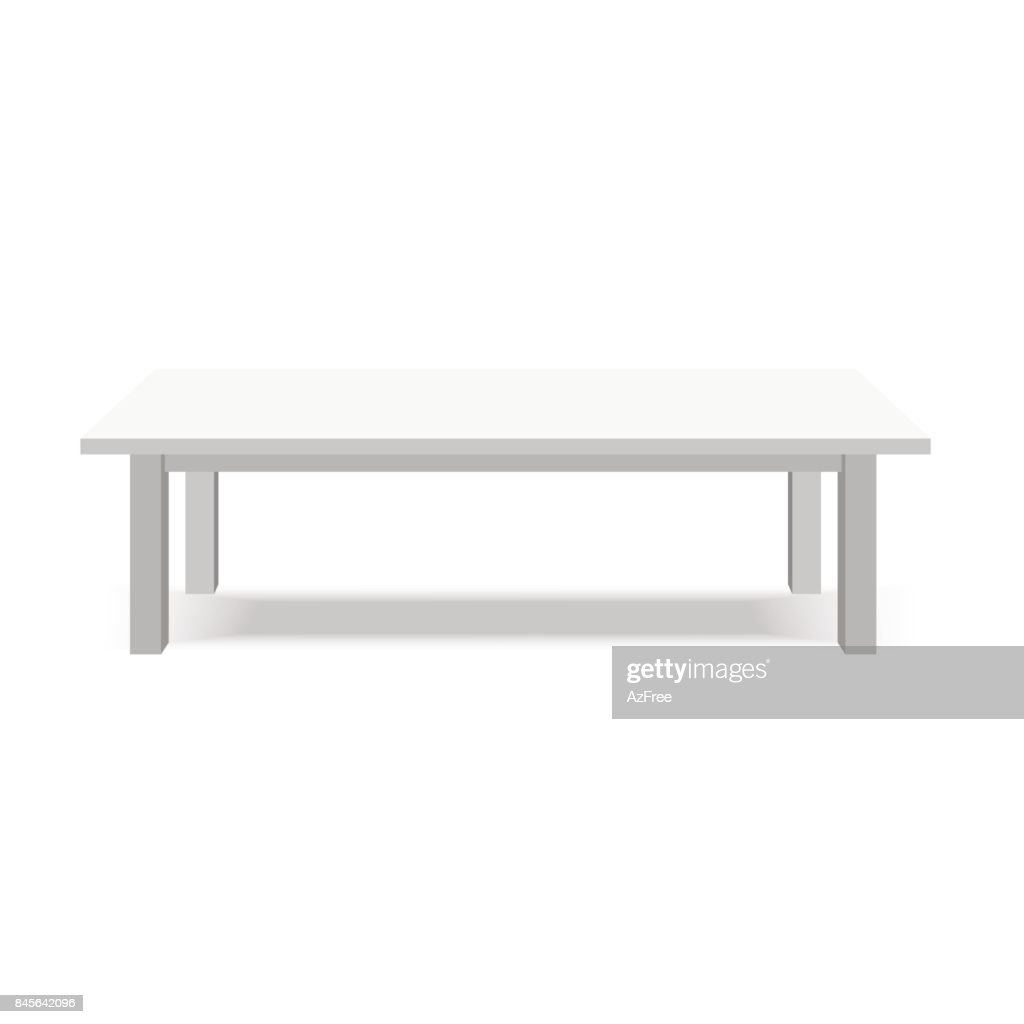 Modern white table, exhibition presentation desk. Vector illustration.
