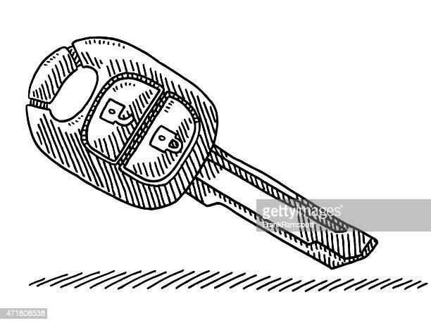 modern wireless car key drawing - car key stock illustrations, clip art, cartoons, & icons