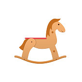 Modern wooden colorful children s toy horse rocking. Sports, entertaining toy