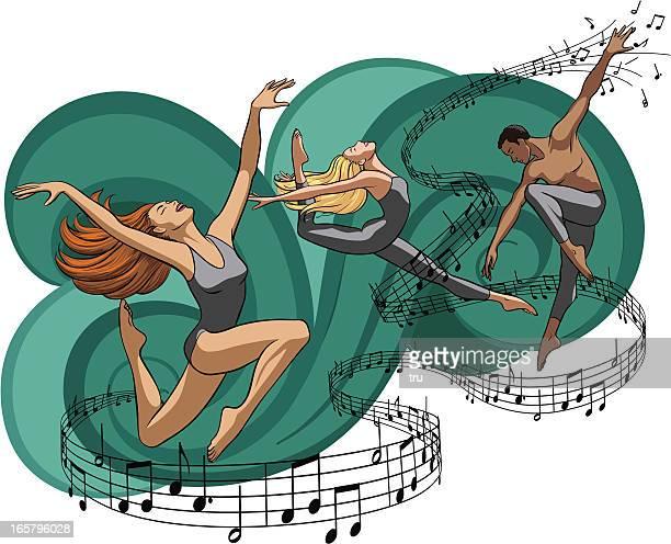 ilustraciones, imágenes clip art, dibujos animados e iconos de stock de moderna/& música jazz bar dancers - baile moderno