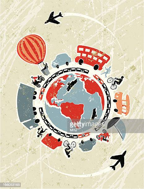 modes of transport surrounding a global world map - surrounding stock illustrations, clip art, cartoons, & icons