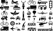 modes of transportation icons on white