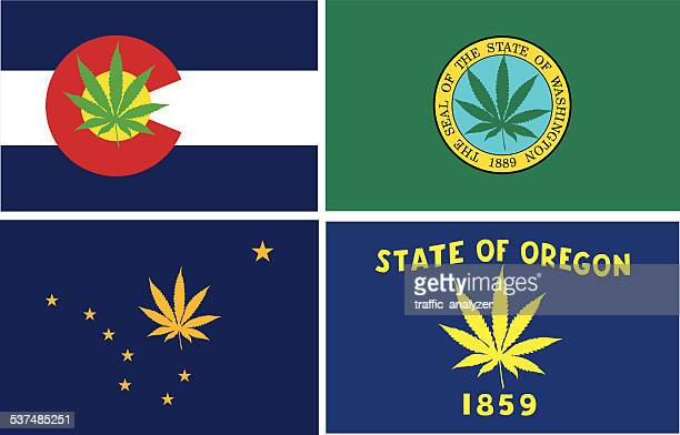 modified flags of states that legalized marijuana - cannabis plant stock illustrations, clip art, cartoons, & icons