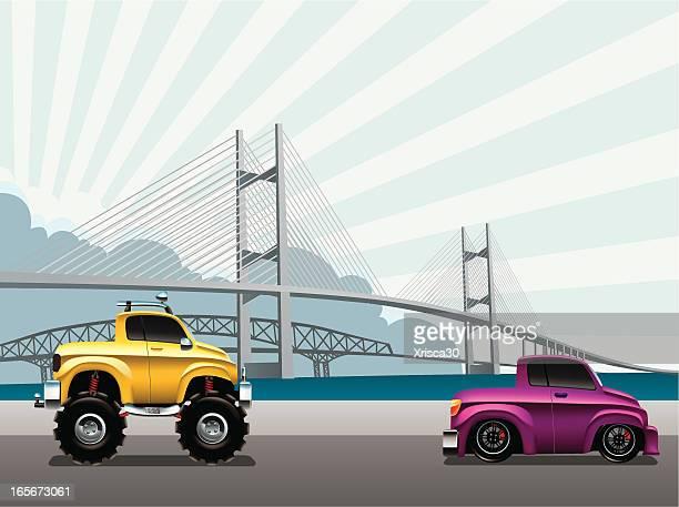 ilustraciones, imágenes clip art, dibujos animados e iconos de stock de modificado camioneta - puente colgante