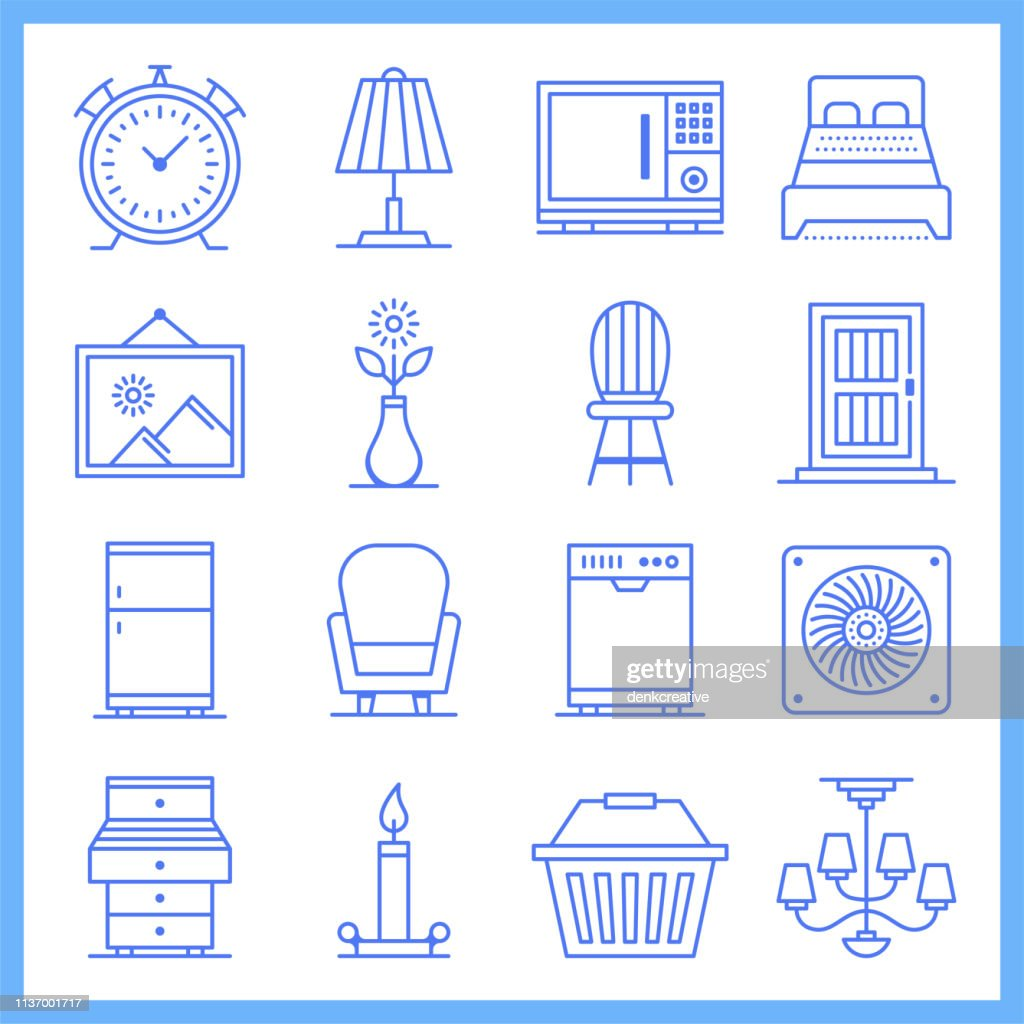 Modular House Furniture Blueprint Style Vector Icon Set Stock