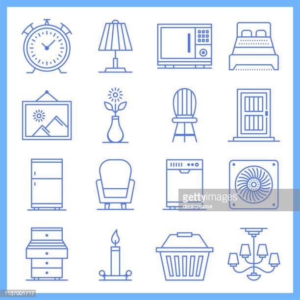 Modular House Furniture Blueprint Style Vector Icon Set