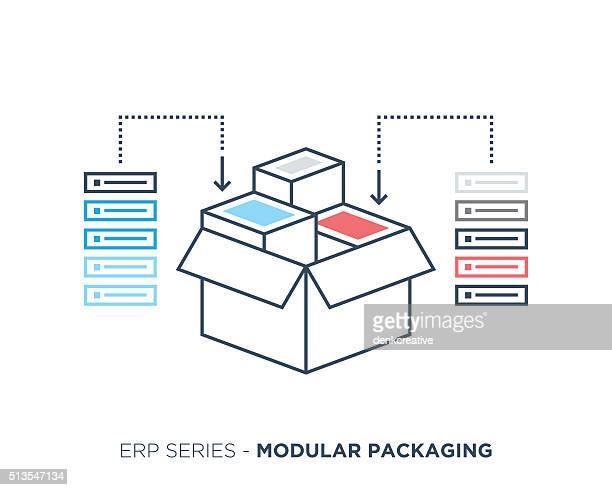 modular packaging - inserting stock illustrations