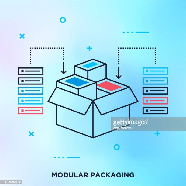 modular software programming outline vector graphic concept - access control stock illustrations, clip art, cartoons, & icons