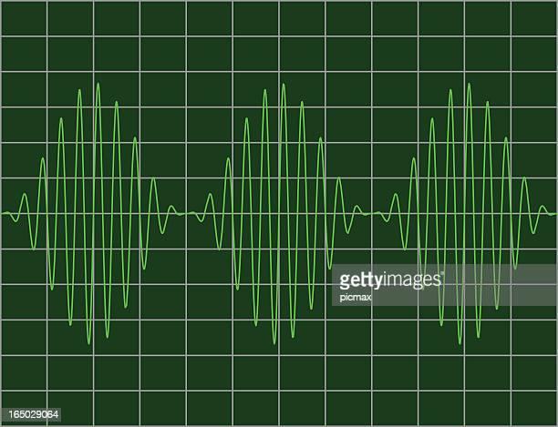 stockillustraties, clipart, cartoons en iconen met modulated sinewaves - oscilloscoop