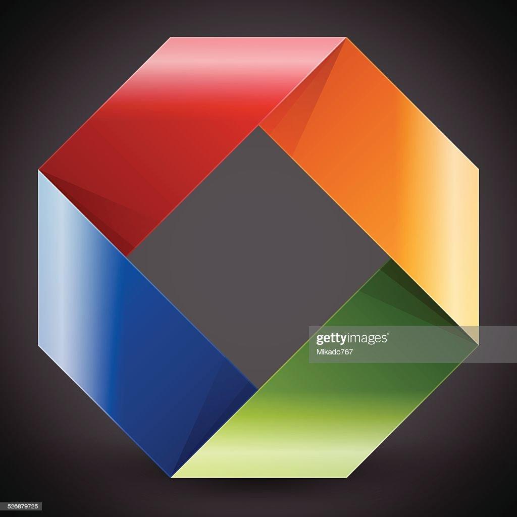 Moebius origami colorful paper rectangle