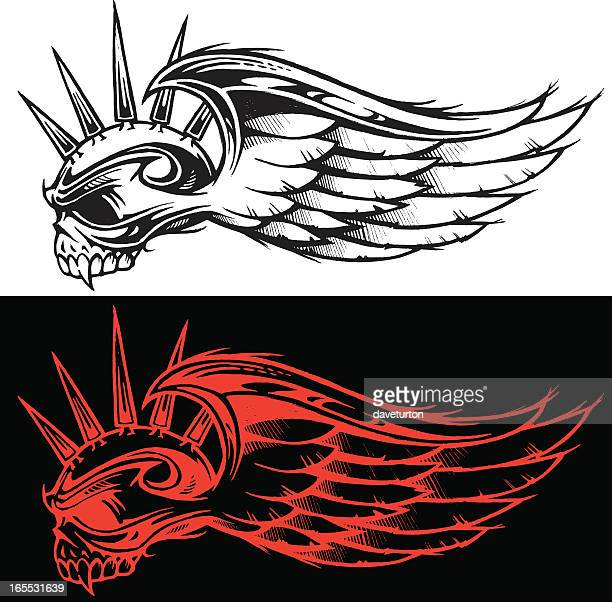 mohawk spiked skull & wing - spiked stock illustrations, clip art, cartoons, & icons