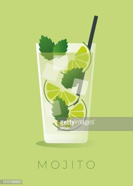 mojito cocktail auf grünem hintergrund. - eisheilige stock-grafiken, -clipart, -cartoons und -symbole