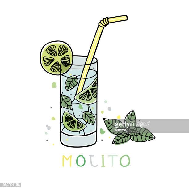 mojito - mint leaf culinary stock illustrations, clip art, cartoons, & icons