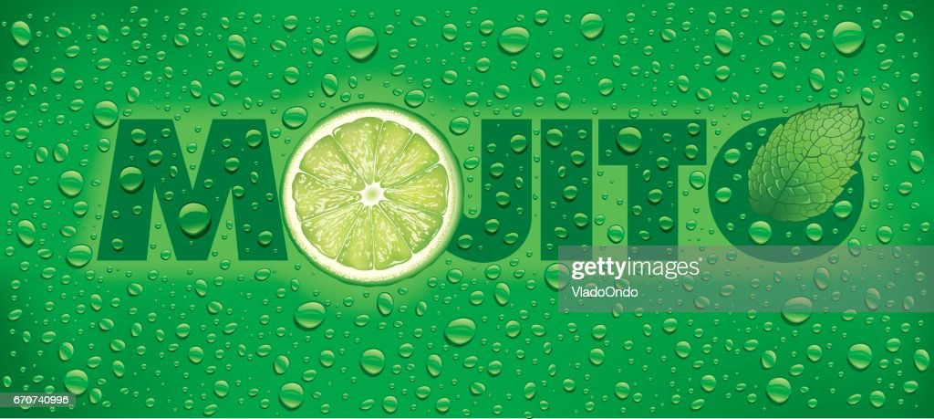 mojito with lime slice, mint leaf and many water drops