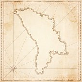 Moldova map in retro vintage style - old textured paper