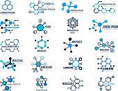 Molecular logotypes. Evolution concept formula chemistry genetic technology medical information node cell vector illustrations