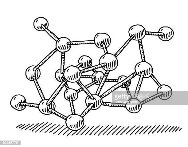 molecular structure drawing - nanotechnology stock illustrations
