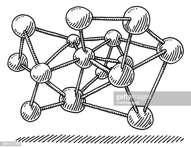 molecular structure science drawing - nanotechnology stock illustrations