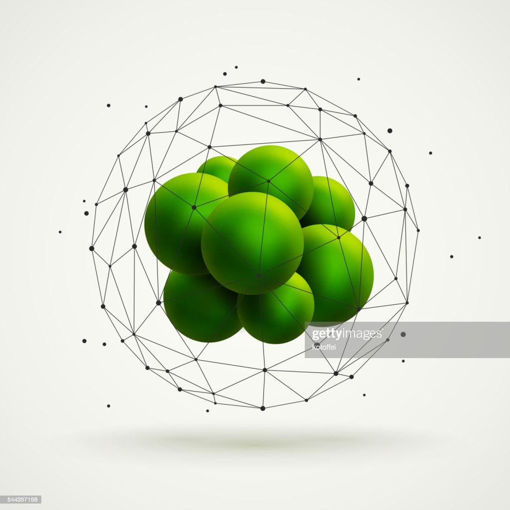 molecular structure with green particles