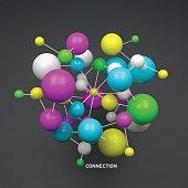 Molecule. 3D concept illustration. Vector illustration.