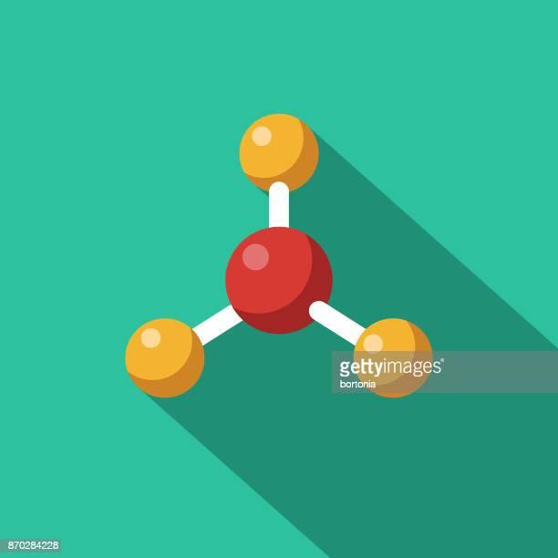molekül flaches design science & technologie-symbol mit seite schatten - molekül stock-grafiken, -clipart, -cartoons und -symbole
