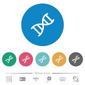 DNA molecule flat round icons