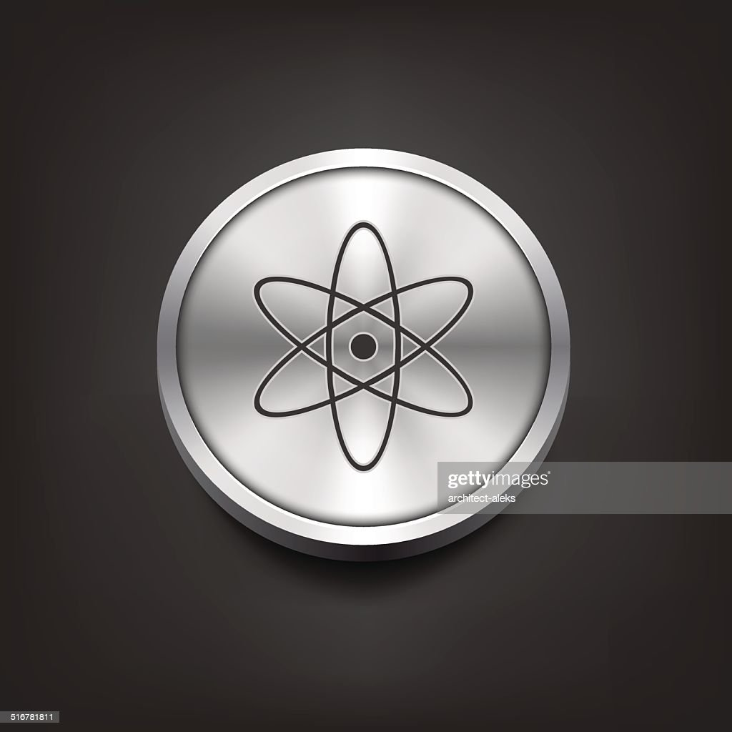 Molecule icon on silver button