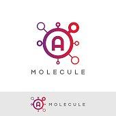molecule initial Letter A icon design
